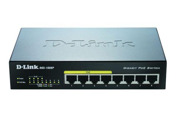 D-Link DGS-1008P 8-Port Layer2 PoE Gigabit Switch