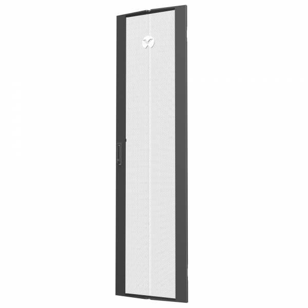 Vertiv 48 HE × Breite 800 mm, einfach perforierte Tür, Schwarz (1 Stück)