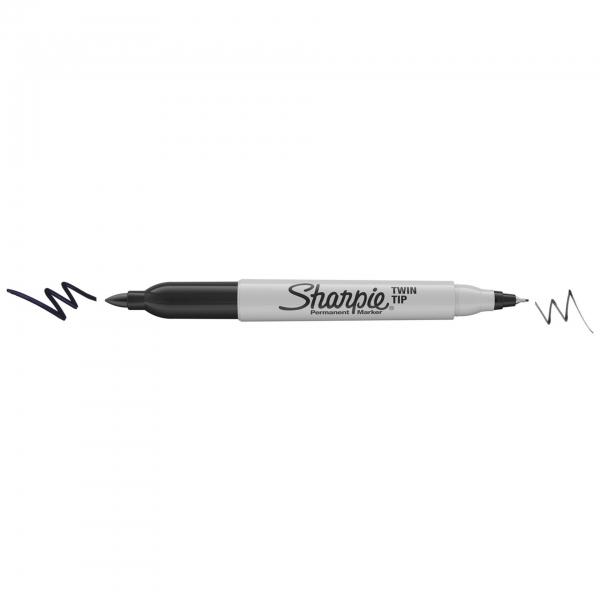 1x8 Sharpie Twin Tip Permanent- marker UF + F 8 Farben
