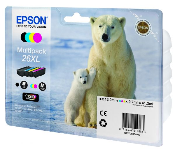 Epson Polar bear Multipack 4 Farben 26XL Claria Premium Ink