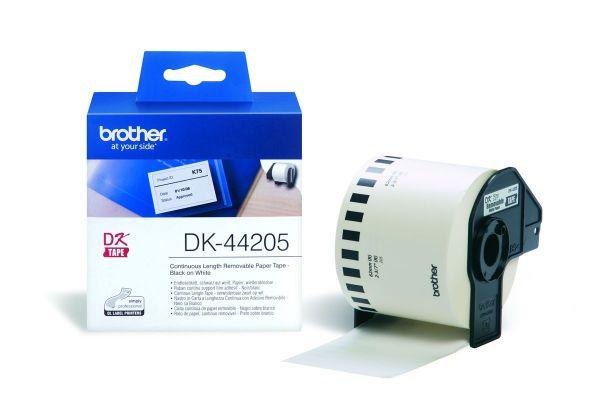 Endlos-Etiketten DK-44205 wiederablösbar weiß, 62mm x 30,48m