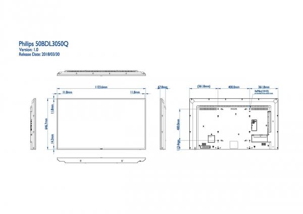 Philips 50BDL3050Q/00 Signage-Display 125,7 cm (49.5 Zoll) 4K Ultra HD Digital Beschilderung Flachbildschirm Schwarz Android 5.0.1
