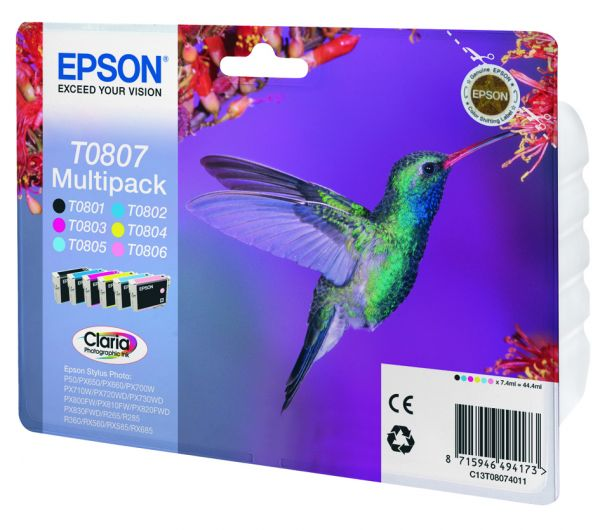 Epson Hummingbird Multipack 6 Farben T0807 Claria Photographic Ink
