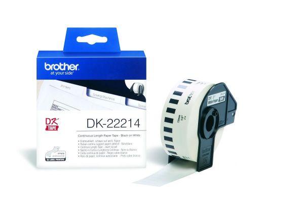 Endlos-Etiketten DK-22214 weiß, 12mm x 30,48m