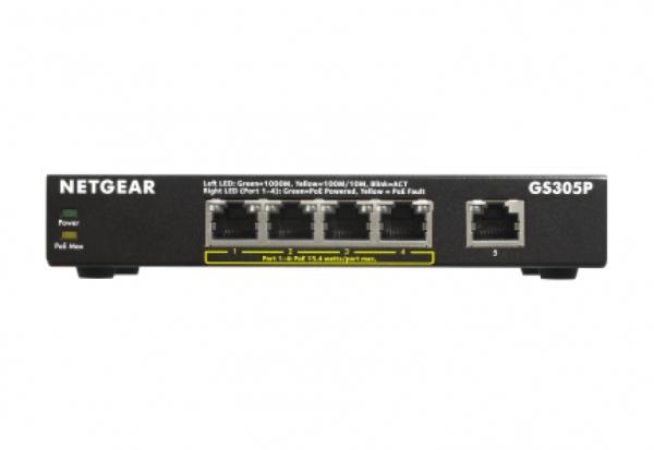 Netgear GS305Pv2 Unmanaged Gigabit Ethernet (10/100/1000) Power over Ethernet (PoE) Schwarz