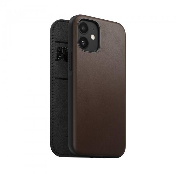 Nomad Rugged Folio Case Rustic Brown Leather iPhone 12 Mini